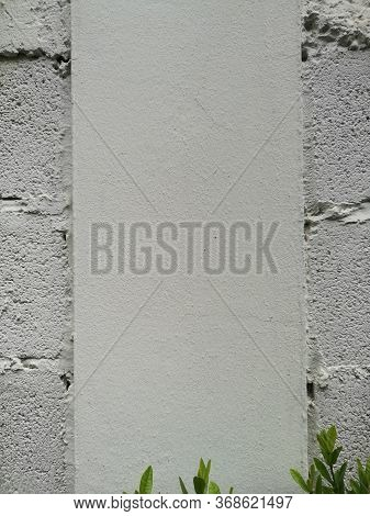 Green Leaves On White Brick Block Wall Show Pattern Stack Block Rough Surface Texture Material Backg