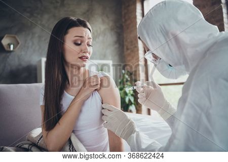 Photo Of Young Sick Crying Terrified Patient Lady Feel Bad Unwell Call Emergency Doc Virologist Flu