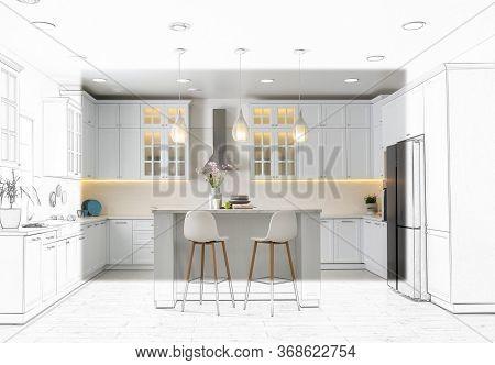 Modern Kitchen With Stylish White Furniture. Illustrated Interior Design