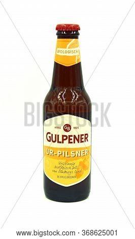 Gulpen, The Netherlands - May 29, 2020: Bottle Of Gulpener Ur-pilsner Beer Against A White Backgroun