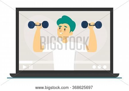 Fitness Exercises Online Vector Isolated. Active And Healthy Lifestyle, Workout At Home. Smart Train