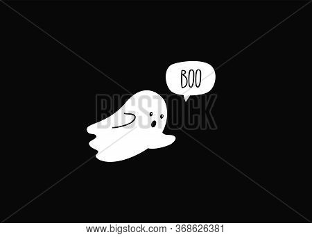 Boo. Halloween Ghost. Cute Simple Ghost Doodle. Vector
