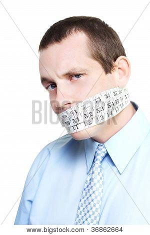 Silent Businessman Showing Measured Restraint