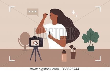 Beauty Blogger. Make Up Influencer. Woman Doing Makeup And Recording A Video. Vector