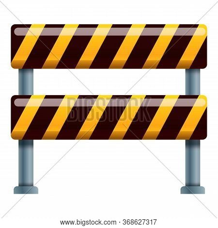 Road Block Barrier Icon. Cartoon Of Road Block Barrier Vector Icon For Web Design Isolated On White