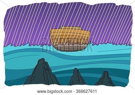 Noahs Ark Floats During A Global Flood