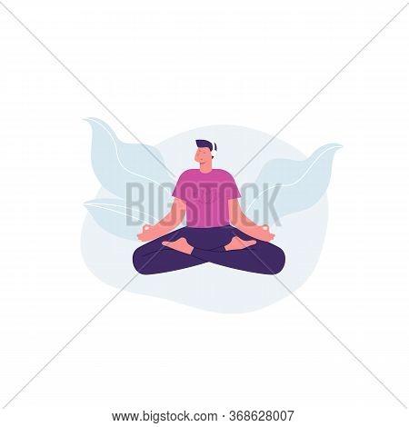Meditation Man. Yoga. Man With Headphones Listening Guided Meditation. Vector