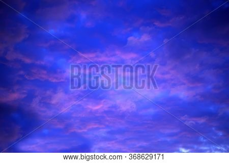 The Vast Blue Sky And Red Clouds. Blue Sky Panorama.
