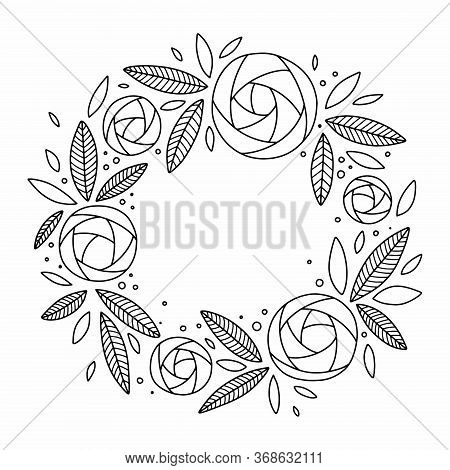 Wreath Of Floral (ranunculus) Elements, Hand Drawn In Outline. Coloring Book Page For Adults And Chi