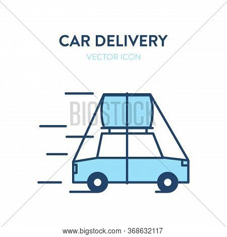 Loaded Car Icon. Vector Illustration Of A Car With A Large Cargo Secured By Ropes On The Roof. Trans