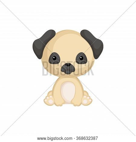 Cute Little Pug Dog Sitting. Adorable Cartoon Animal Character For Decoration And Design Of Album, S