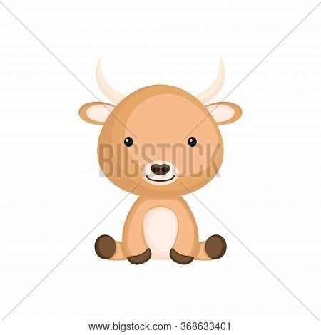 Cute Little Yak Sitting. Adorable Cartoon Animal Character For Decoration And Design Of Album, Scrap