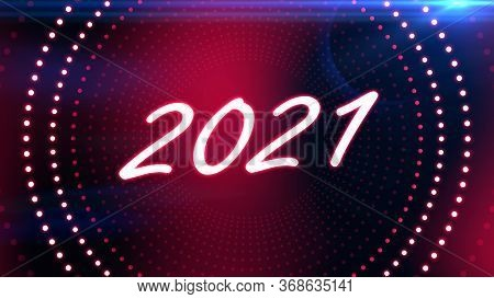 Glowing Colorful Text Happy New Year. The Best Stock Of Animation Flickering, Flash And Blinks Color