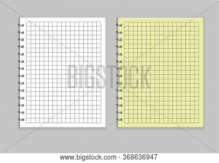 Realistic Notepad Style Layout. Terades With A Yellow Cover And White, Sheets Are Drawn In A Cage, H