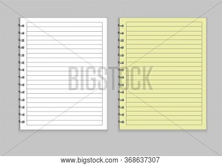 Realistic Notepad Mockup Style. Teradi With A Yellow Cover And White, Sheets Are Drawn In A Line, Ho