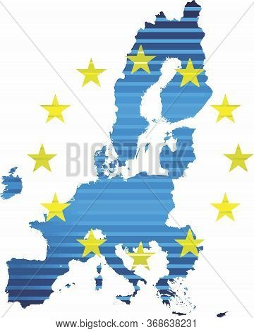 Shiny Map Of European Union - Illustration,  Three Dimensional Map Of European Union