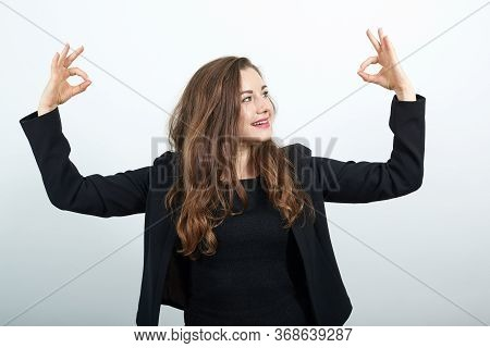 Young Attractive Woman Brunette In In Black T-shirt And Sweater On White Background, Happy Female Sm