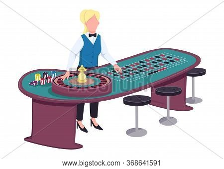 Croupier Flat Color Vector Faceless Character. Female Dealer Near Roulette Table. Person Ready To Sp
