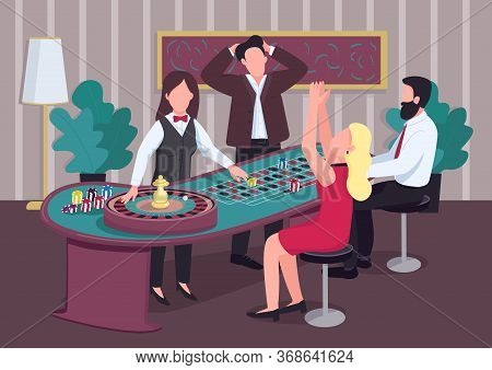 Casino Flat Color Vector Illustration. Group Of People Play At Roulette Table. Croupier Deal Chips.