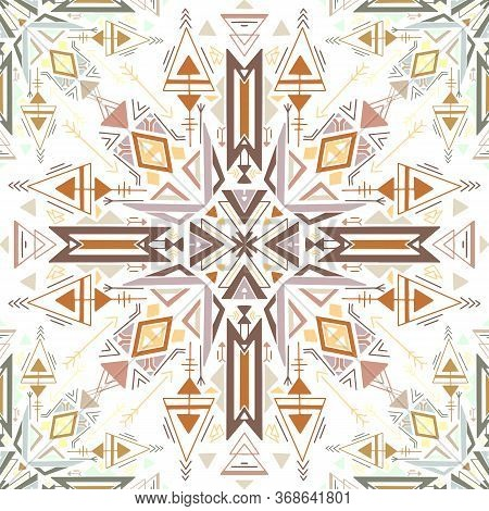 Seamless Tribal Native Texture. Flat Colorful Tracery Drawing On A White Background. Vector Geometri