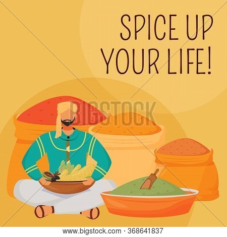 Indian Flavourings Social Media Post Mockup. Up Your Life Phrase. Web Banner Design Template. Hindu