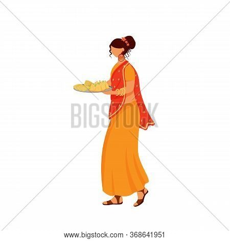 Indian Girl Wearing Sari Flat Color Vector Faceless Character. Hindu Waitress In Traditional Dress,