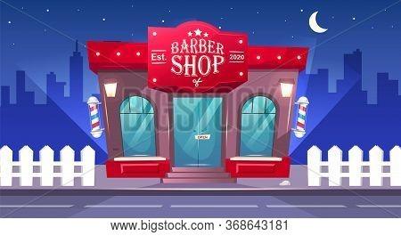 Barbershop Front At Night Flat Color Vector Illustration. Hairdresser Store Entrance. Barber Shop Br
