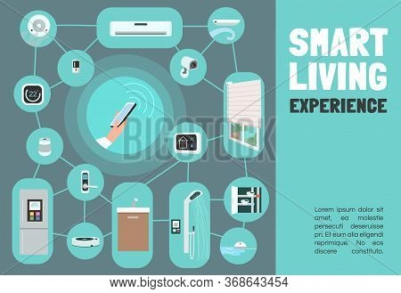 Smart Living Experience Banner Flat Vector Template. Iot Brochure, Poster Concept Design With Cartoo