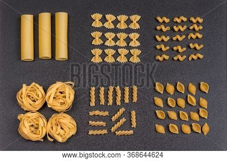 Cannelloni Fettuccine Conchilioni Farfalle Bow Tie Pasta, Fusilli And Cavatappi. Different Types Of
