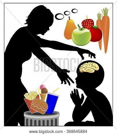 Changing Food Habits. Mother Trying Mind Control In Order To Switch Her Child From Junk To Health Fo