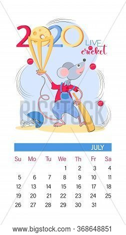 Calendar 2020. July. Cricket Player. Isolated Little Mouse Cricket Champion. Sport Mouse And Cricket