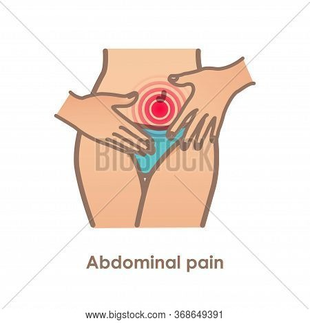 Abdominal Pain. Vector Illustration With Woman Belly. Stomach-ache. Menstruation Pains