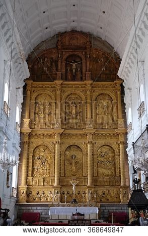 OLD GOA, INDIA - FEBRUARY 18, 2020: Main altar in the Se Cathedral dedicated to Catherine of Alexandria, Old Goa, Goa, India