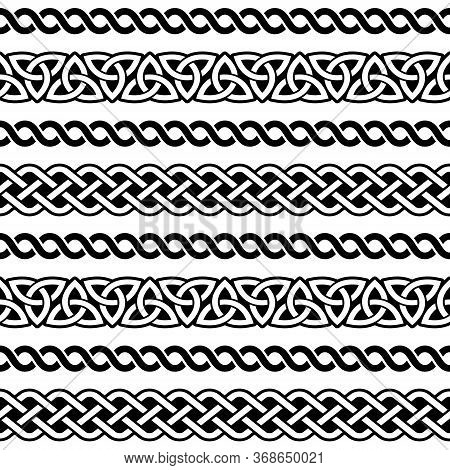 Irish Celtic Seamless Vector Pattern, Braided Frame Designs For Greeting Cards, St Patrick's Day Cel