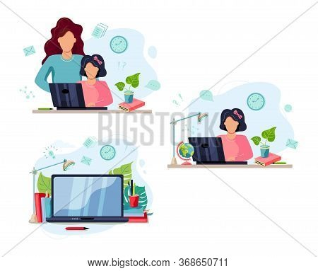 Home Learning Concept. Mother Is Helping Student To Do Homework. Student Works On Laptop At Home. Fl