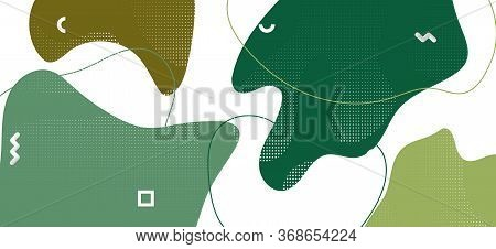 Hipster Camouflage Composition. Summer Camo Fluid Design. Vector Green Military Collage. Graphic Cam