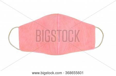 Pink Handmade Washable Cotton Cloth Protective Mask Isolated On White Background. Anti-virus Or Anti