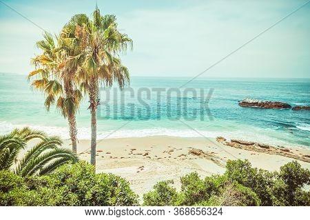 Atmospheric View On The Main Beach Of Laguna Beach In Orange County California