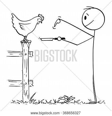 Vector Cartoon Stick Figure Drawing Conceptual Illustration Of Farmer Or Man Holding Pan And Asking