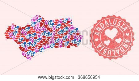 Vector Collage Of Love Smile Map Of Andalusia Province And Red Grunge Seal With Heart. Map Of Andalu