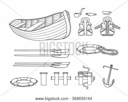Set Of Marine Safety Elements, Wooden Lifeboat, Lifejacket, Lifebuoy, Peakless Cap, Oars, Whistle, R
