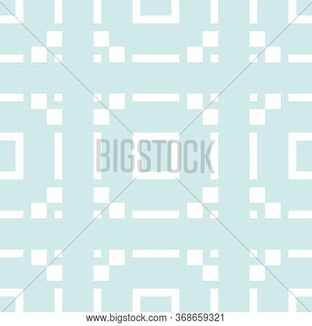 Subtle Vector Geometric Seamless Pattern With Squares, Square Grid, Tiles. Abstract Texture In Light