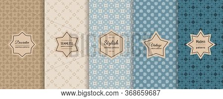 Vector Seamless Patterns Collection. Retro Geometric Backgrounds With Elegant Modern Labels. Set Of