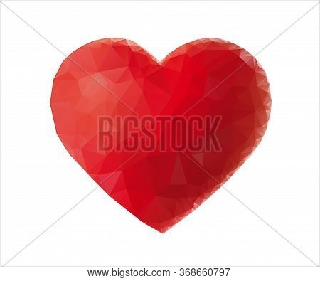 Low Poly Heart Isolated On White Background