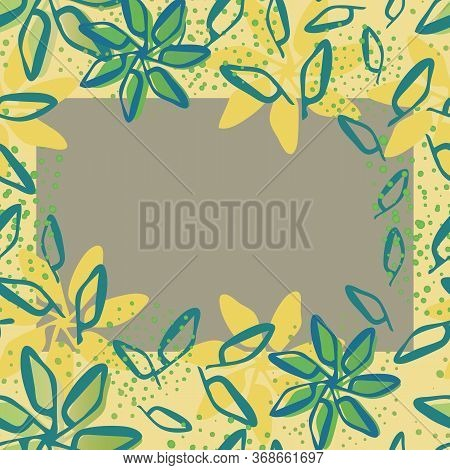 Scattered Flowers Frame Design. Painterly Blooms Foliage With Offset Color On Textured Yellow Backgr