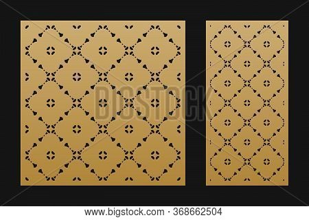 Laser Cut Panel. Vector Stencil With Abstract Geometric Pattern, Floral Grid Ornament In Oriental St