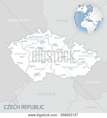 Blue-gray Detailed Map Of Czech Republic Administrative Divisions And Location On The Globe.