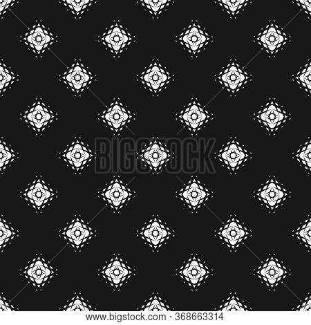 Vector Geometric Seamless Pattern. Abstract Monochrome Texture With Small Fading Rhombuses, Diamonds