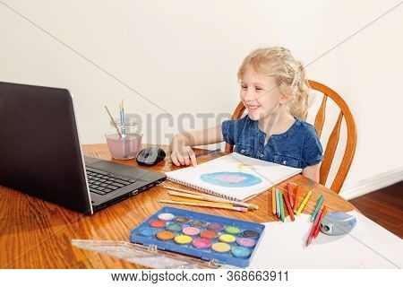 Girl Child Learning Art Lesson Online On Laptop Internet. Virtual Drawing Painting Class On Video Du