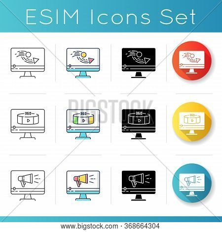 Internet Video And Animation Icons Set. Promotional Videography. 360 Degree View Footage. Tv Commerc